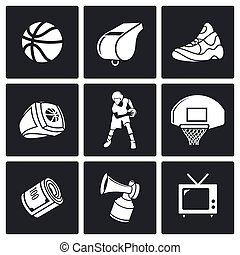Basketball Vector Icons Set - Basketball game Vector...