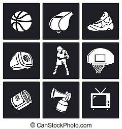 Basketball Vector Icons Set - Basketball game Vector...