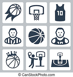 Basketball vector icons set