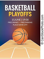 Basketball vector poster game tournament. Realistic basketball flyer design