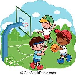 basketball., vektor, kinder, abbildung, spielende