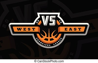 Basketball, VS, sports logo, emblem on a dark background. Vector illustration.