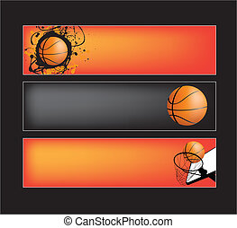 basketball website banners - illustration set of basketball...