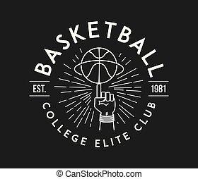 Basketball white on black