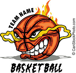 basketball with cartoon face and flames