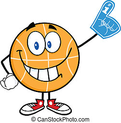 Basketball With Foam Finger - Smiling Basketball Cartoon...