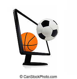basketball with football computer on a white background