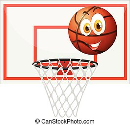 Basketball with happy face and net