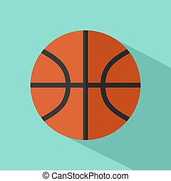 Basketball with long shadow on blue background. flat design