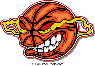 basketball with mean cartoon face and big teeth
