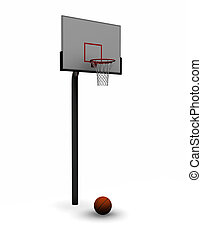 Basketball with net - 3D render of a basketball with net