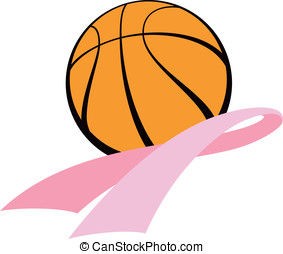 Basketball with Pink Ribbon - Vector Illustration of a...