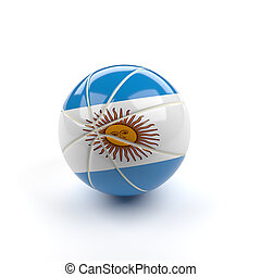 Basketball with the flag of Argentina