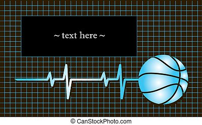 Basketball with the pulse and field for the text. Vector...
