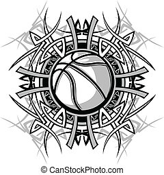 Basketball with Tribal Borders - Vector Graphic of a...