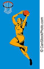 Basketball woman player lay up
