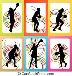 Basketball woman player vector background set concept