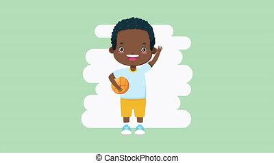 basketball, zeichen, kleiner junge, afro, balloon
