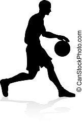 Basketballl player silhouette - A basketball player...