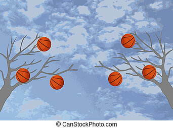 Basketballs are hanging on the tree