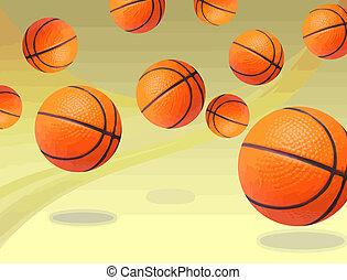 Basketballs bouncing - Collection of basketballs bouncing on...
