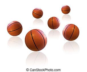 Basketballs on white floor