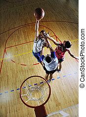 basketballspiel, spielende