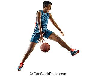 basketballspieler, frau, teenager, m�dchen, freigestellt, schatten