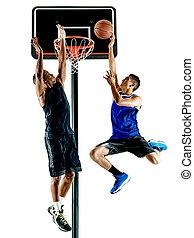 basketballspieler, maenner, freigestellt