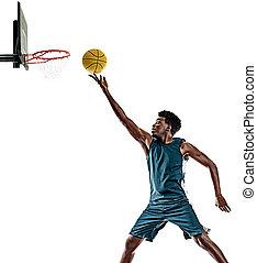 basketballspieler, mann, weißer hintergrund, afrikanisch, freigestellt, junger