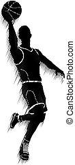 basketballspieler, silhouette, sport, begriff