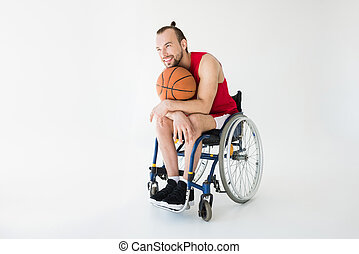 basketballspieler, sitzen, in, rollstuhl