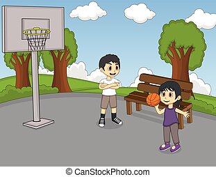 basketboll, barn, leka