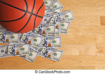 basketboll, dollarräkningar, en, hög, hundra