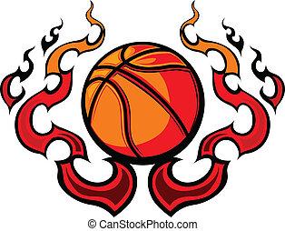 basketboll, mall, flammor, vec