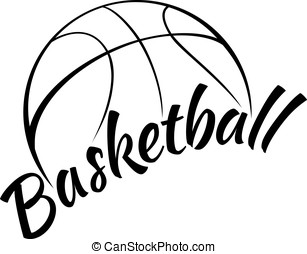 basketboll, med, nöje, text