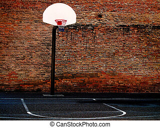 basketboll, urban, domstol