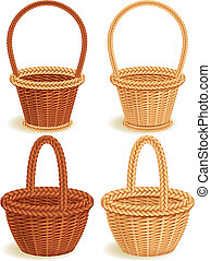 baskets - Vector illustration - Four wattled baskets