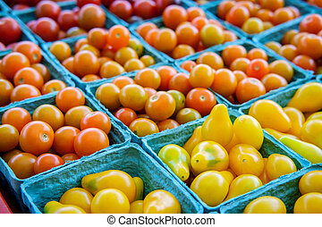 Baskets Grape Tomatoes - Baskets of fresh organic red yellow...