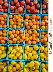 Baskets Grape Tomatoes - Baskets of fresh organic red yellow...