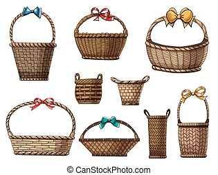Baskets - Hand drawn collection of various baskets and bows ...