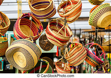 Baskets - Handmade colorful baskets hanged for display.