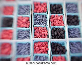 Baskets of Berries - Baskets of raspberries, blueberries,...
