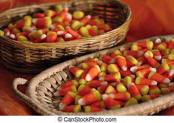 Baskets of candy corn.