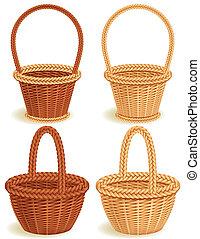 baskets - Four wattled baskets