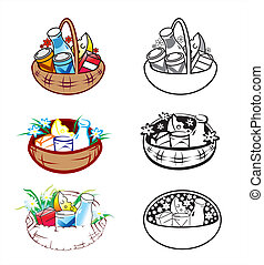 Baskets - Vector illustration of stylized baskets with food