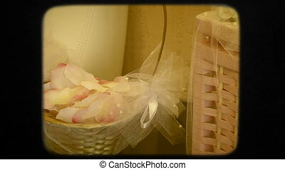 Baskets With Beautiful White Wedding Decorations On The Floor
