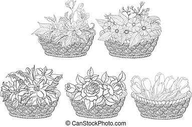 Baskets with flowers set, outline - Wattled basket with...