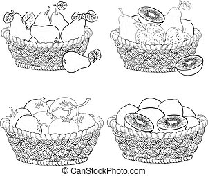 Baskets with fruits and vegetables, outline