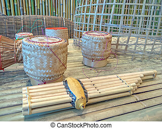 basketwork : Thailand' products made ??from bamboo.